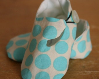 Ivory and Turquoise Polka Dot Loafer Baby Booties - SALE
