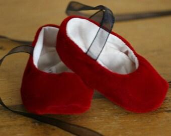 Baby Girl Red Velvet Ballet Slippers - Baby Dress Shoes