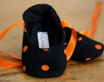 Halloween Black and Orange Ballet Slipper Booties - Sale Ready to ship
