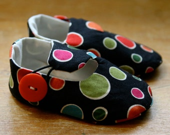 Black and Multi Color Polka Dot Baby Shoes - Last Pair, Ready to Ship