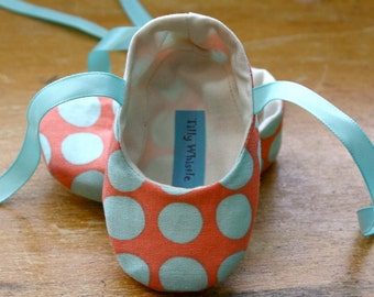 Baby Girl Ballet Slippers, Baby Girl Shoes, Coral and Turquoise Polka Dot, Ballet Booties SALE