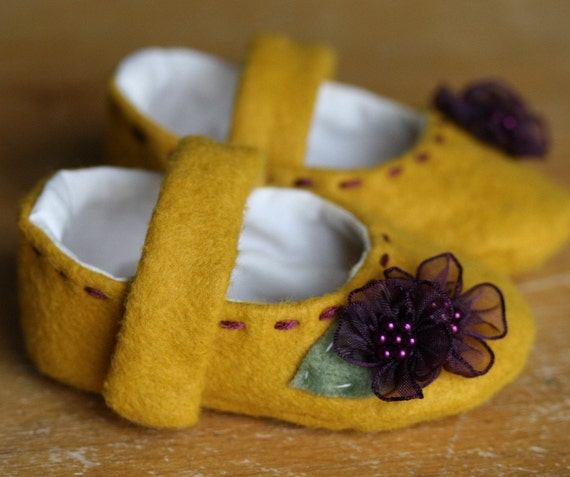 Yellow Wool and Purple Flowers  Mary Jane Booties