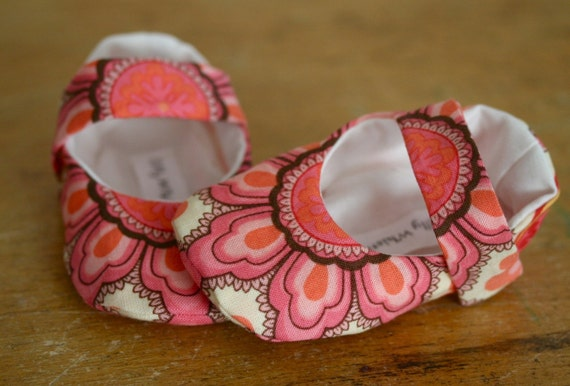 Baby Girl Shoes Pink Floral Cotton Mary Janes