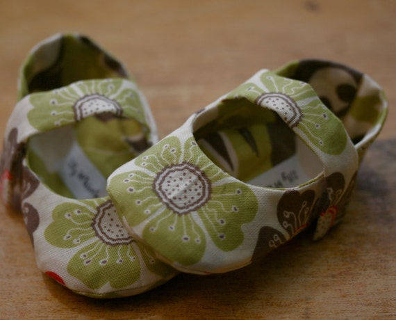 Lime and Taupe Floral Mary Jane Baby Shoes   - Free Shipping Etsy