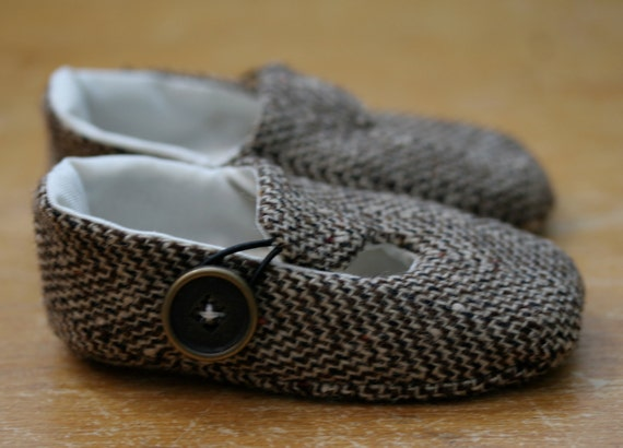 Baby Boy Shoes Brown Herringbone Wool Loafers