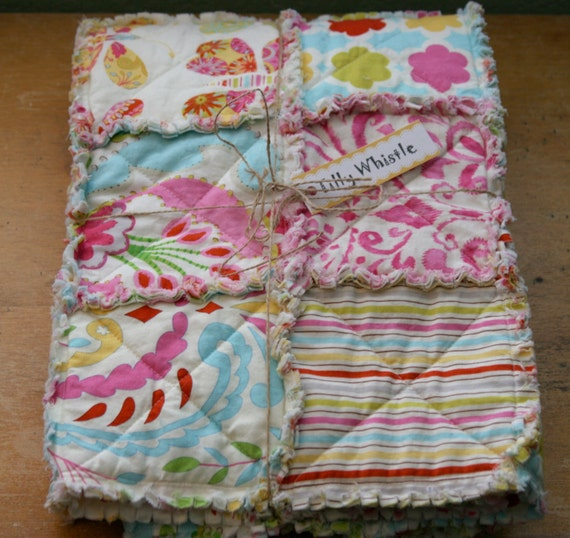 Cotton Rag Quilt for Baby Girl Butterflies and Stripes