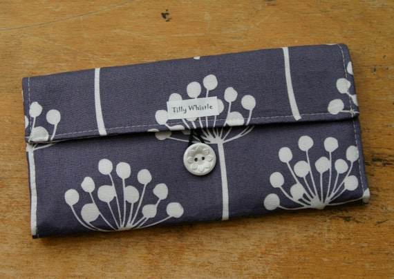 Fabric Wallet Purple Botanic Print with Zipper Pocket -  Last One - Free Shipping