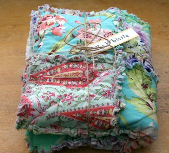 Baby Girl Cotton Rag Quilt Turquoise, Coral and Purple - Ready to Ship