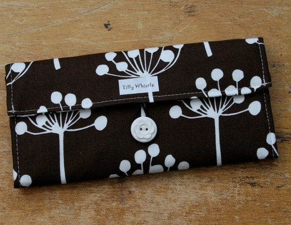 Womens Wallet Chocolate Brown Botanic Print Fabric With Zipper Pocket - Ready to Ship