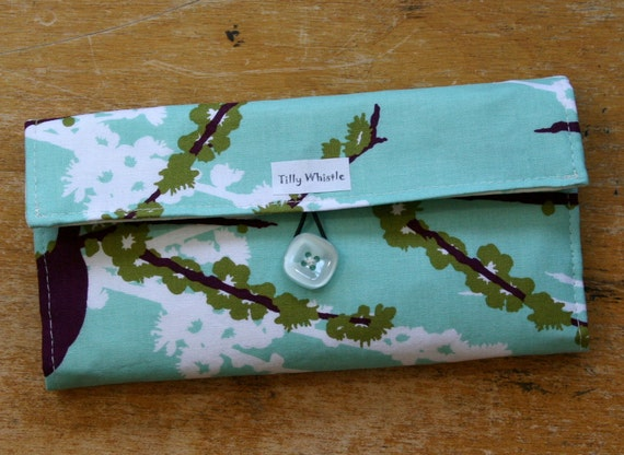 Fabric Wallet Aqua and Green Birds and Blossoms