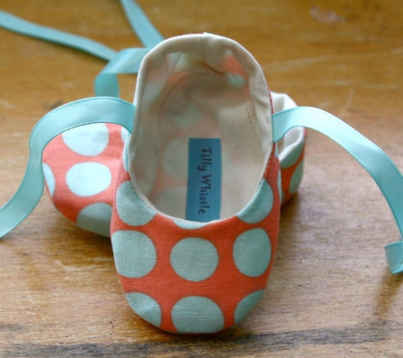 Coral and Blue Polka Dot Ballet Slipper Baby Booties
