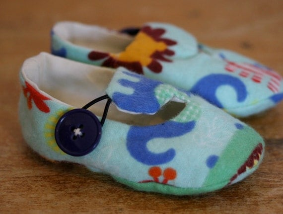 Baby Shoes  Blue Zoo Animal Flannel Print - Sale