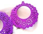 Hollow Series--4pcs 53mm Pretty Purple Floral Hoop Round Wooden Charm/Pendant