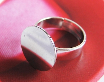 20pcs Finished Solid Silver Tone Adjustable Ring Blanks With 16mm Big Round Pad(Nickel Free)