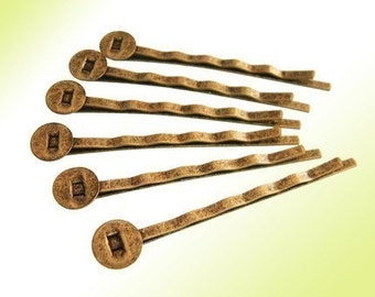 40pcs 50mm Antique Bronze Hair Clip With Flat 8mm Pad