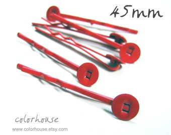 50pcs 45mm Bright Red Bobby Pins With Flat Pad 45Y7