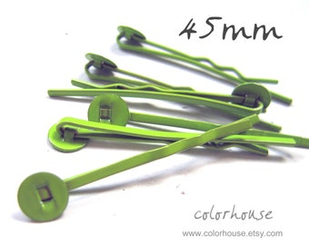 20pcs 45mm Bright Apple Green Bobby Pins With Flat Pad 45Y14