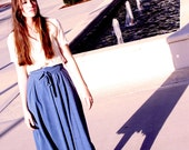 Vintage 50s blue Whimsical maxi skirt with bow tie