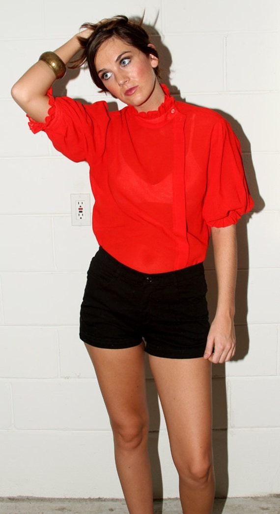 Red Sheer Steampunk Ruffle Blouse