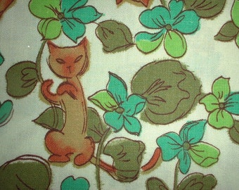 "Vintage Fabric 1960's Mod Siamese Cats Hiding in Flowers and Leaves Cotton Novelty Quilt Sewing Fabric 17.5"" x 36""w majikhorsefabrics"