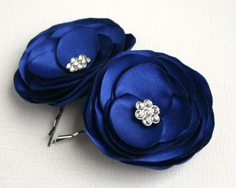 Blue Flower Hair Clips For Wedding - Navy Blue Wedding Flower Hair Piece - Bridal Hair Accessory