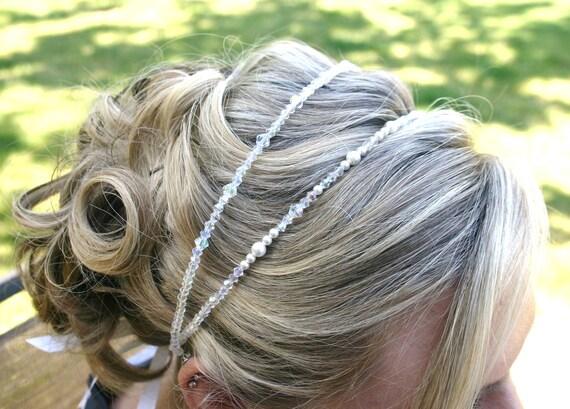 Beaded Bridal Headpeice - Wedding Crystal and Pearl Headband - Sparkly Tiara