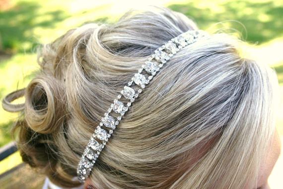 Rhinestone Headband For Wedding - Bridal Hair Accessory - Tie on Bridal Tiara - Hairpiece