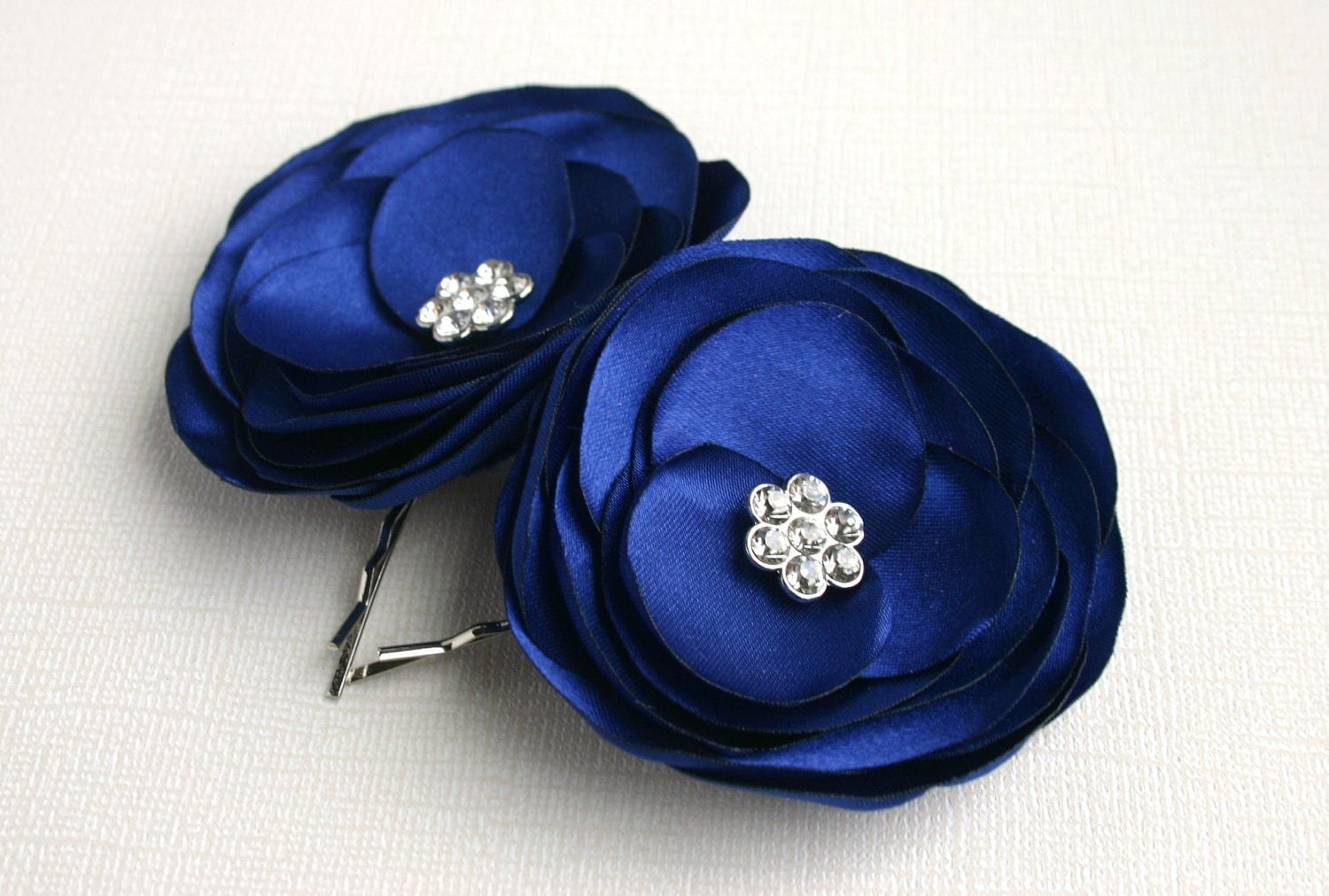navy blue hair pin hair pieces for wedding Blue Flower Girl Wedding Accessory Navy Blue Bridesmaid Hair Piece Bridal Flower Hair Clip Bridal Hair Accessory Flower Hair Pins