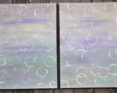 RESERVED till Feb. 15th - Sea Breeze original painting diptych abstract modern contemporary urban chic lavender yellow seafoam white