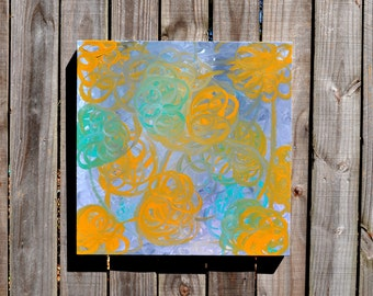 """Delightful Dimensions large 24"""" x 24"""" square original abstract painting  modern contemporary turquoise lavender yellow"""