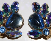 Ice Blue Cluster Clip On Earrings