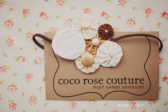 rosette headband  in brown and cream made form true vintage fabric yo yo's