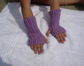 Arm Warmers - Kids - Girls - Light Purple - Crocheted with thumb hole