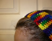 Crocheted Headband Rainbow Design - One Size fits most
