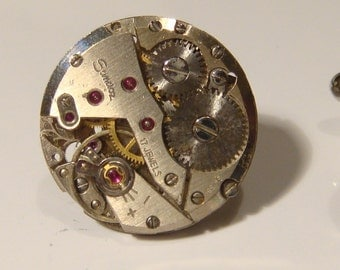 Stunning set of Matching Sandez circular watch movement cufflinks ideal gift for the birthday of a steampunk lover