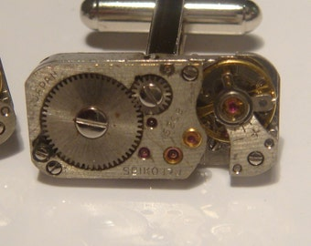 Industrial rectangular watch movement cufflinks ideal gift for a wedding, birthday or anniversary
