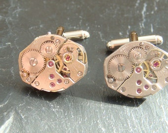 5 Pairs of  Watch Movement cufflinks, ideal gift for the groomsmen and ushers at a wedding