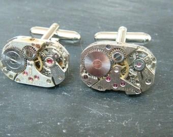 Industrial Watch Movement Cufflinks with genuine swiss made watch movements