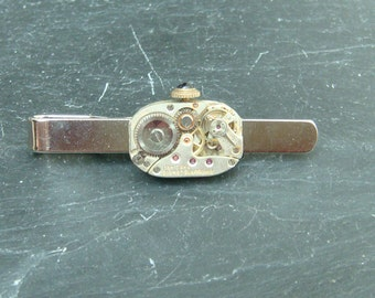 Tie Bar with rare 17 Jewel swiss Made Watch Movements ideal gift for a steampunk lover