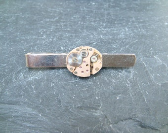 Tie Bar with 17 Jewel Swiss Made  gold toneWatch Movement ideal gift for a steampunk lover