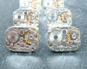 5 Pairs of  Matching Watch Movement cufflinks, ideal gift for the groomsmen and ushers at a wedding