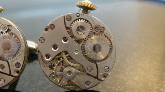 Matching Winged Steampunk Cufflinks a stunning example of vintage swiss watch movements