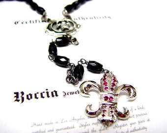 Men's Silver  Black diamond Skull  &  Fleur De Lis  Ruby  Rosary by Roccia