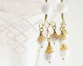 WHITE SWING: Handmade Chandelier earrings - wire work with white jade beads - free shipping