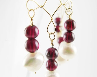 Handmade Chandelier earrings - Goldfilled wirework with garnet beads and pearls- Victorian style
