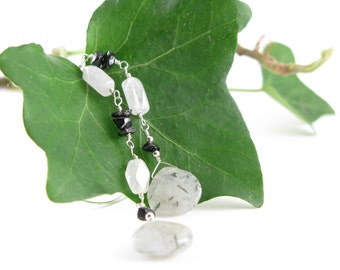 Bohemian earrings - Snow quartz, tourmaline and tourmalinated quartz, sterling silver wire wrapping