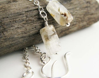 Minimalist silver earrings - Sterling silver chain and square rutilated quartz tubes, delicate, light weight
