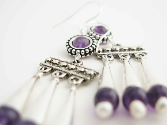 AELIANA: Reproduction roman style earrings - Hand assembled amethyst beads and silver plated findings