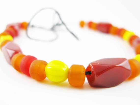 ÅSA: Viking reproduction glass beads - carnelian and red agate beads - tied into necklace