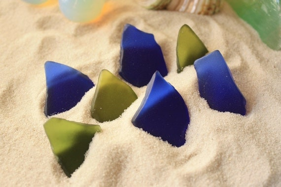 Gorgeous Olive Green and Cobalt Blue Sea Glass Beach Glass for Jewelry, Mosaic, and Terrariums